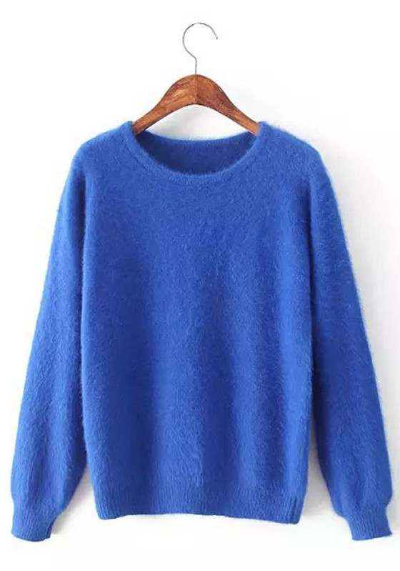 Sky Blue Plain Long Sleeve Sweater - Pullovers - Sweaters - Tops