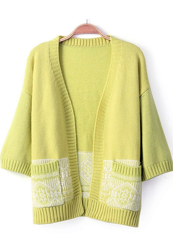 Yellow-Green Print Pockets Half Sleeve Cardigan - Cardigans ...