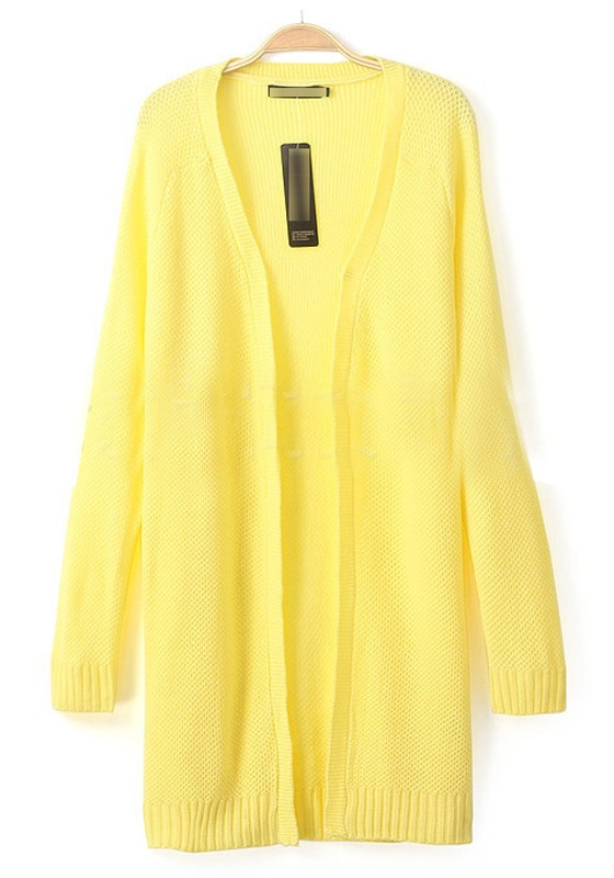 Yellow Plain Long Sleeve Knit Cardigan - Cardigans - Sweaters - Tops