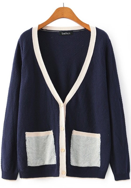 Navy Blue Patchwork Pockets Cardigan - Cardigans - Sweaters - Tops