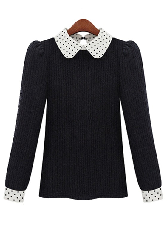 Peter Pan collar sweater Item Product Details. We upped the ladylike polish on this classic wool sweater with a little pouf at the shoulders and a classic Peter Pan collar (our current obsession this season). We can't wait to pair it with a sleek pencil skirt or a printed café capri.