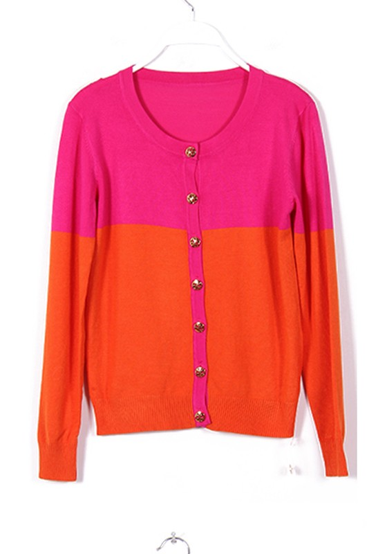 Orange Color Block Long Sleeve Wool Blend Cardigan - Cardigans ...