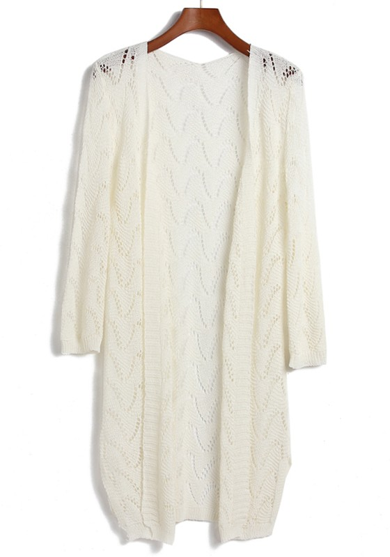 White Hollow-out Long Sleeve Loose Acrylic Cardigan - Cardigans ...