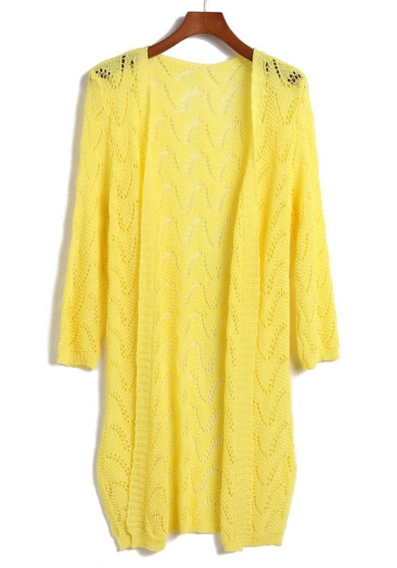Yellow Hollow-out Long Sleeve Loose Acrylic Cardigan - Cardigans ...