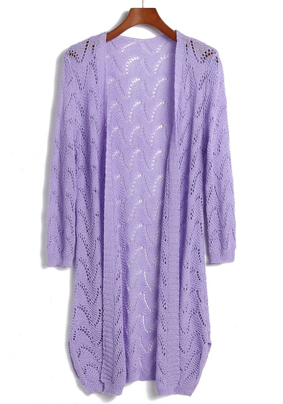 Purple Hollow-out Long Sleeve Loose Acrylic Cardigan - Cardigans ...