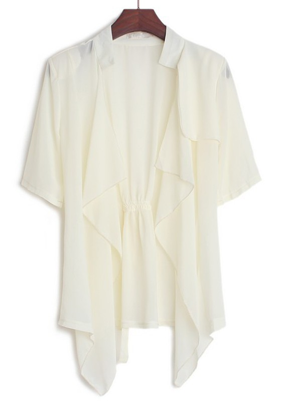 White Plain Collarless Half Sleeve Loose Chiffon Cardigans ...