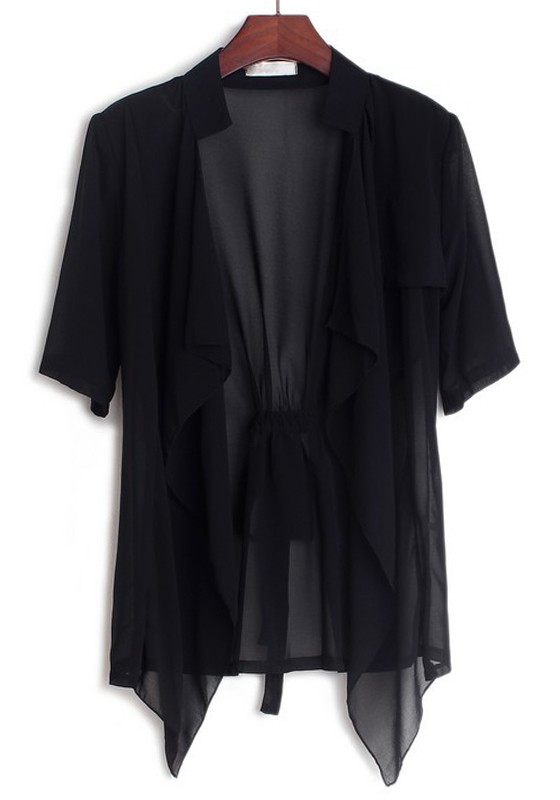 Black Plain Collarless Half Sleeve Loose Chiffon Cardigans ...