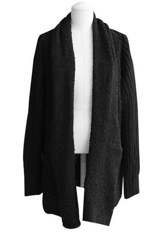 Black Patchwork Pockets Collarless No Button Acrylic Cardigan ...