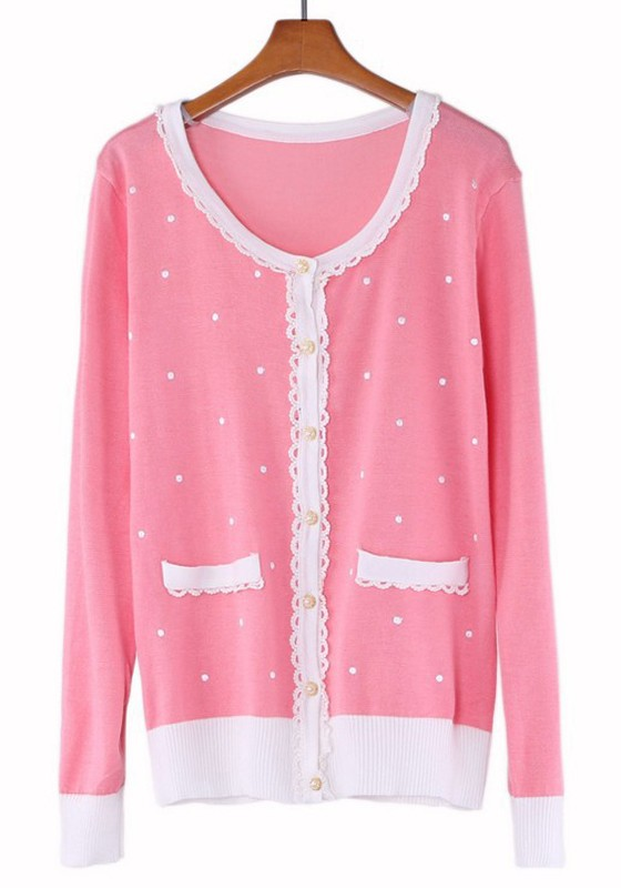 Pink Polka Dot Lace Wrap Knit Cardigan - Cardigans - Sweaters - Tops