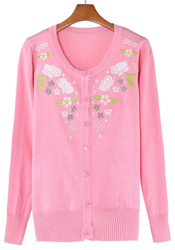 Pink Rose Embroidery Long Sleeve Wrap Cotton Cardigan - Cardigans ...