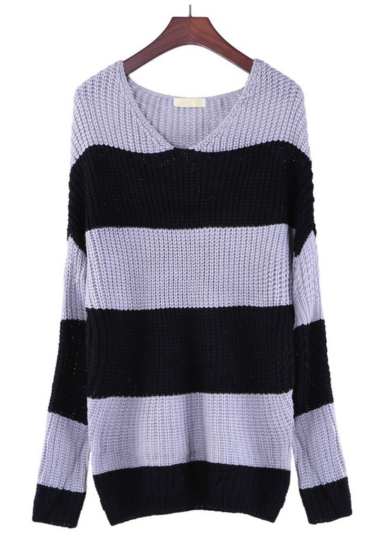Black Striped Print V-neck Thick Cotton Blend Sweater - Sweaters ...