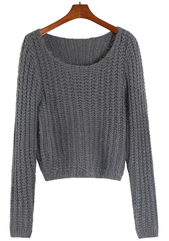 Grey Plain Crop Split Round Neck Pullover Sweater - Pullovers ...