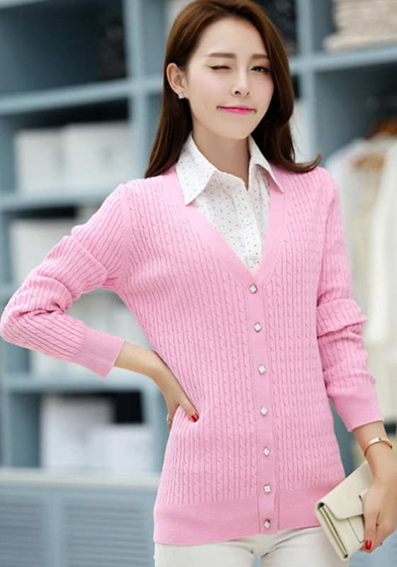 Pink Plain Single Breasted V-neck Knit Cardigan Sweater ...