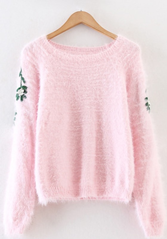 Pink Beading Flower Pullover Sweater - Pullovers - Sweaters - Tops