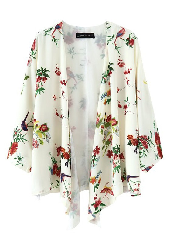 Multicolor Floral Irregular Zipper Placket Chiffon Cardigan ...