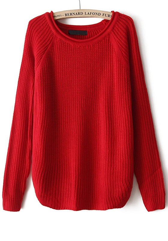 Red Plain Long Sleeve Loose Acrylic Sweater - Sweaters - Tops