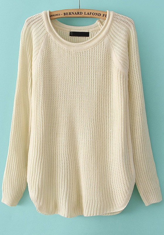 Beige Plain Long Sleeve Loose Acrylic Sweater - Sweaters - Tops