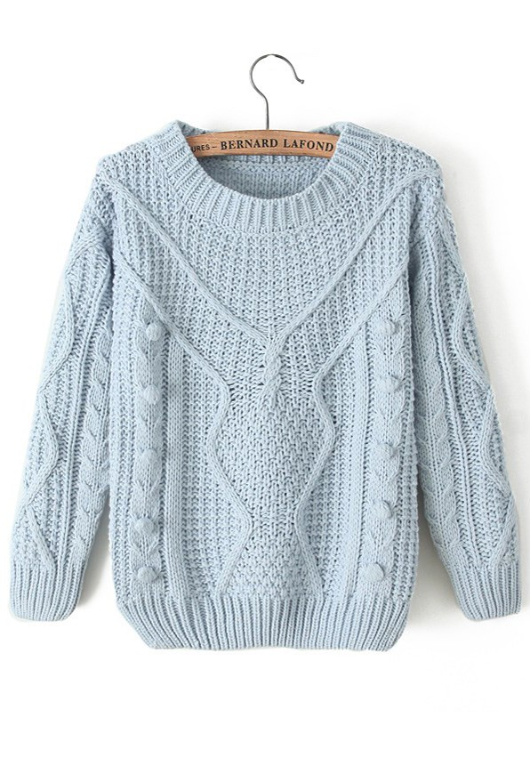 Light Blue Plain Pleated Round Neck Thick Wool Blend ...