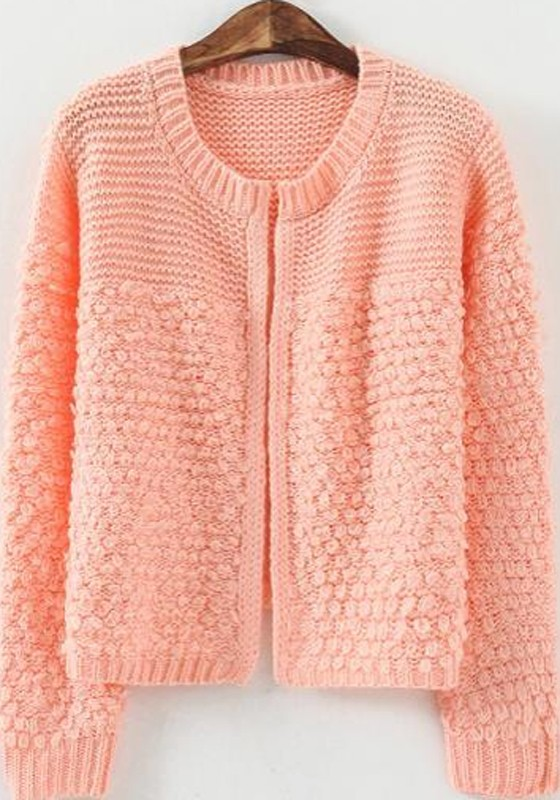 Knitting Pattern Patchwork Cardigan : Pink Patchwork Long Sleeve Knit Cardigan - Sweaters - Tops