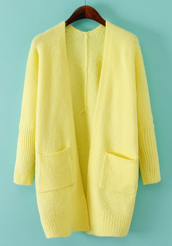 Yellow Plain Pockets Long Sleeve Cardigan - Cardigans - Sweaters ...