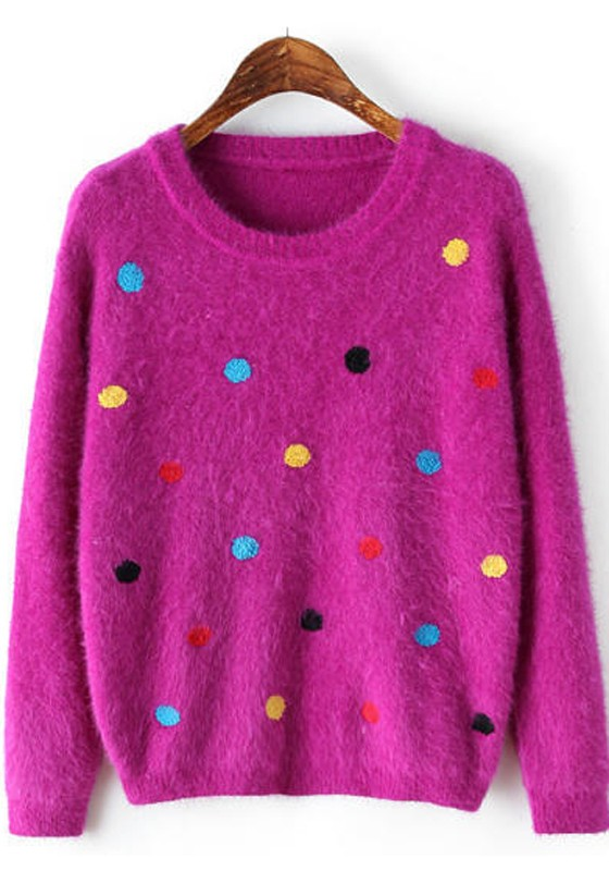 Purple Polka Dot Print Sweet Pullover Sweater - Pullovers ...
