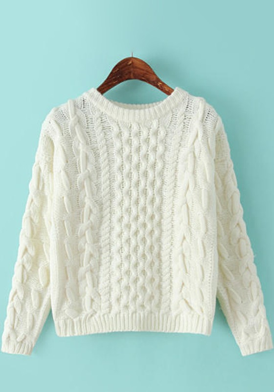 White Cable Print Thick Pullover Sweater - Pullovers - Sweaters - Tops