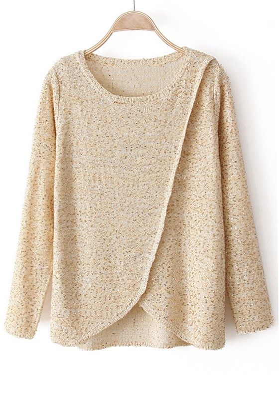 Beige Sequin Irregular Long Sleeve Cotton Blend Sweater - Sweaters ...