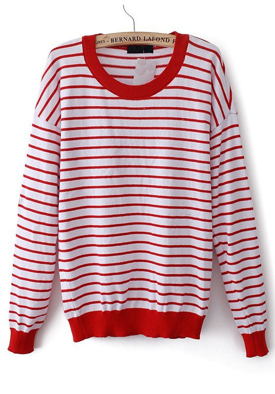 Red White Striped Patchwork Heart Elbow Acrylic Sweater ...