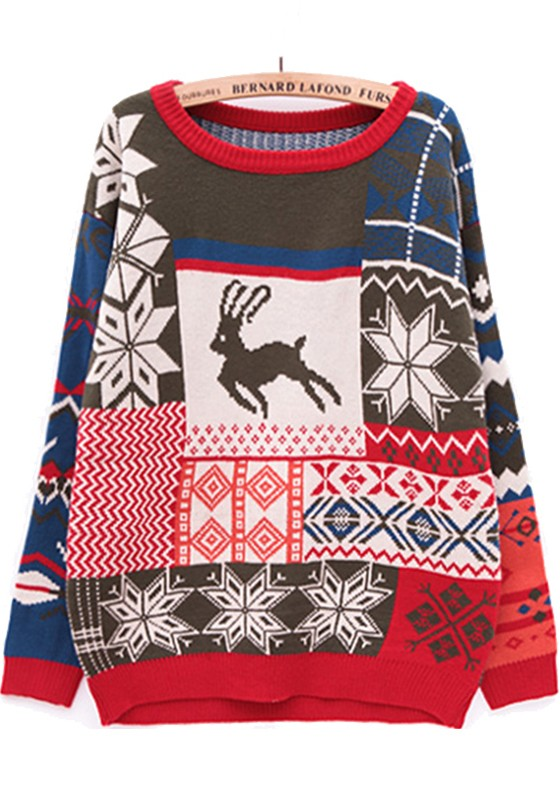 Green Deer Snowflake Fair Isle Print Thick Knit Sweater ...