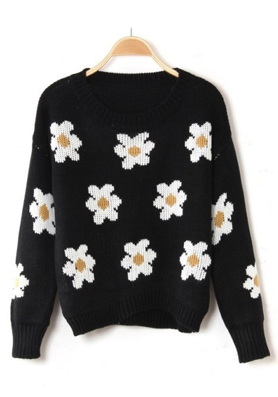 17d91d04582 Black Flowers Print Round Neck Wool Blend Sweater - Sweaters - Tops