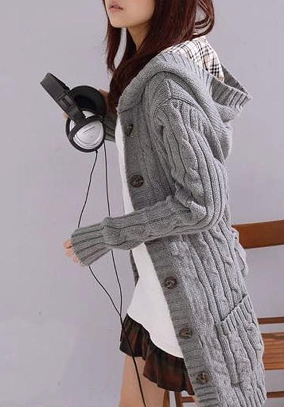 Women\u0027s Grey Plain Belt Long Sleeve Hoodie Cardigans Trench Thick Knit  Sweater