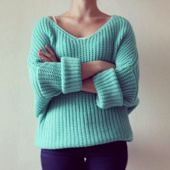 Light Green Plain Hollow-out V-neck Long Sleeve Pullover Sweater ...