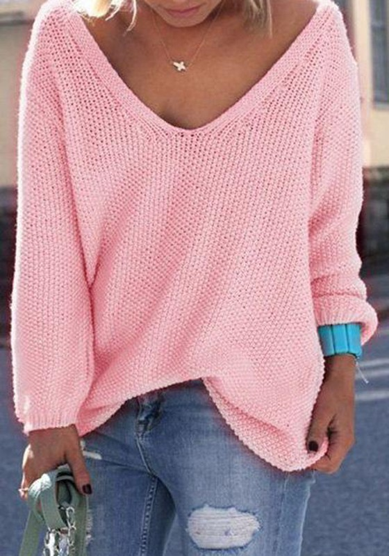 Pink Plain V-neck Long Sleeve Loose Fashion Pullover Sweater ...