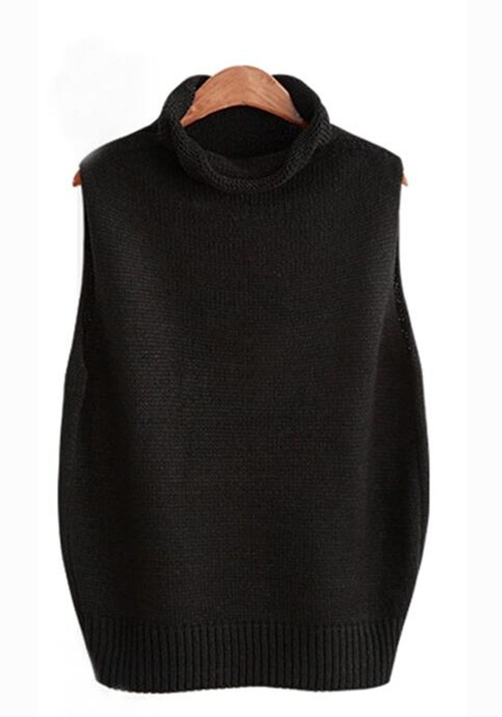 Black Plain High Neck Streetwear Cotton Pullover Sweater ...