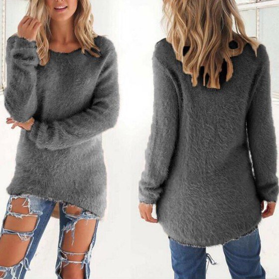 Grey Plain Round Neck Long Sleeve Casual Pullover Sweater ...