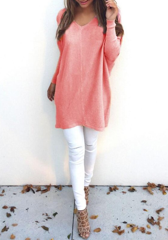 Pink Orange Plain V-neck Long Sleeve Casual Loose Pullover Sweater ...