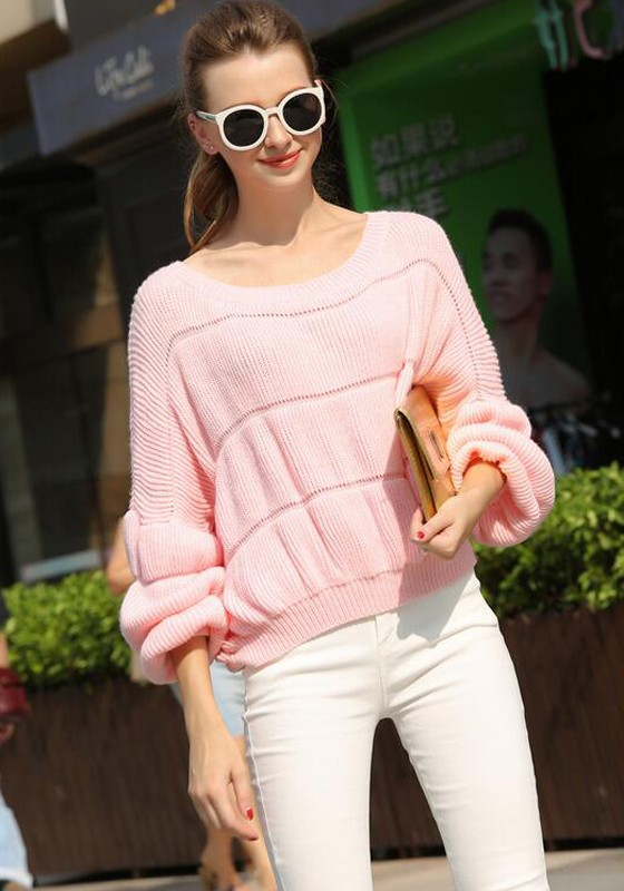 Pink Plain Hollow-out Round Neck Lantern Sleeve Cute Pullover ...