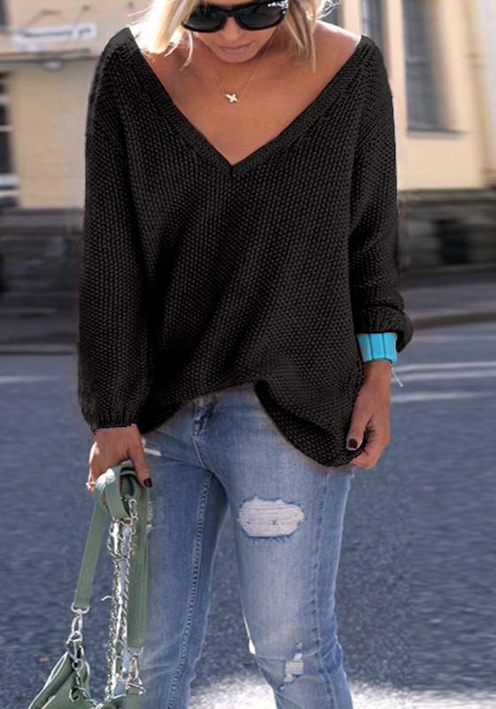 vraiment pas cher meilleure sélection le plus populaire Pull en tricot ample décolleté v-cou manches longues oversize femme noir