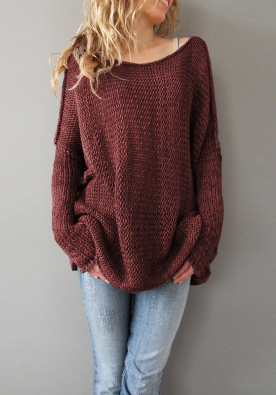 Wine Red Plain Round Neck Long Sleeve Pullover Sweater - Pullovers ...