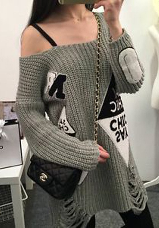 Grey Patchwork Letter Hollow-out Ripped Boat Neck Off-Shoulder ...