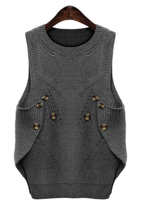 Grey Plain Buttons Round Neck Sleeveless Pullover Sweater ...