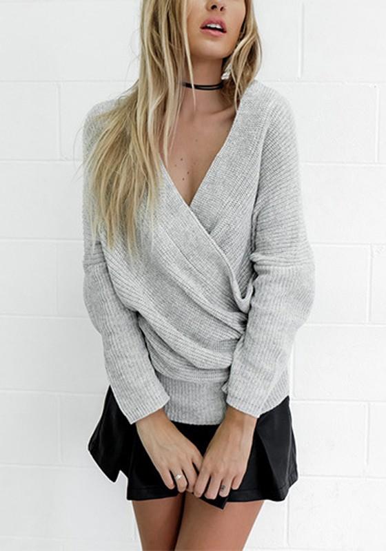online store 42b2c f2ff5 Grau Off Shoulder Rückenfreies Oversize V-Ausschnitt Langarm Strickpullover  Wickelpullover Damen Mode