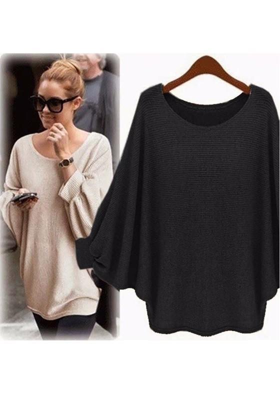 Meilleure vente les clients d'abord vente de sortie Pull en tricot ample col ronde chauve souris oversize mode femme noir