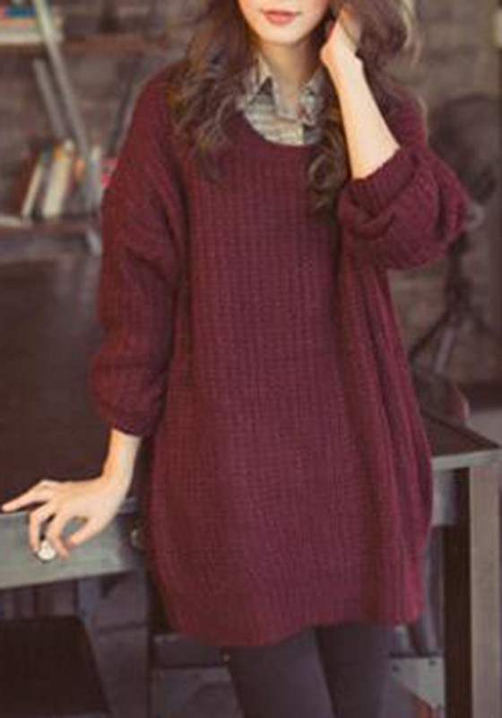 30c4eef423 Wine Red Oversized Knitted Batwing Sleeve Batwing Sleeve Pullover Sweater  Jumper - Pullovers - Sweaters - Tops