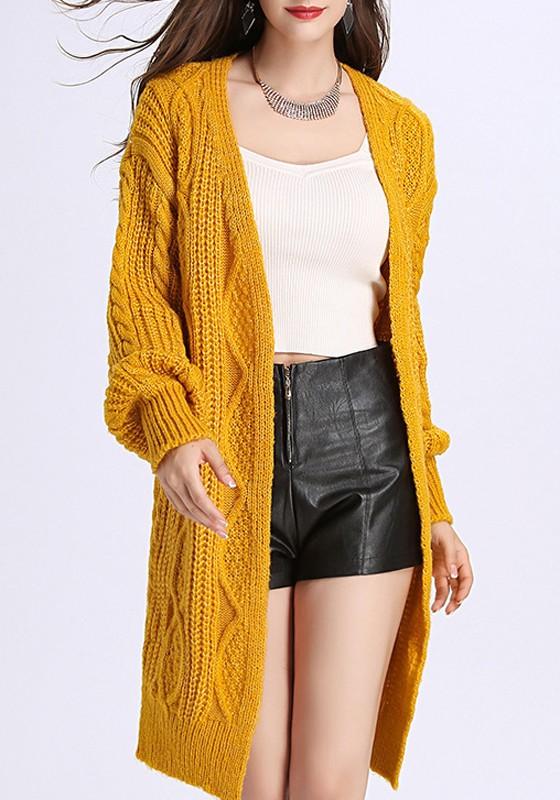 Shop für Beamte verkauf uk große Auswahl Gelbe Zopfmuster V-Ausschnitt Langarm Grobe Cardigan Mantel Lange  Strickjacke Damen Günstig