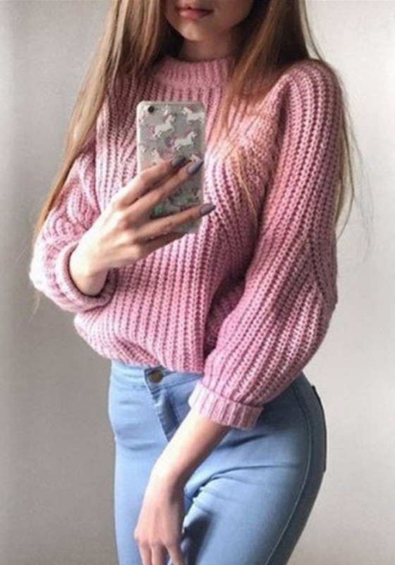 Pink Round Neck Long Sleeve Fashion Oversized Knit Pullover Sweater