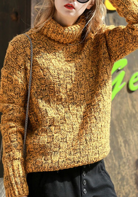 ad110e4a82e58b Yellow High Neck Long Sleeve Fashion Knitwear Jumper Pullover Sweater -  Pullovers - Sweaters - Tops
