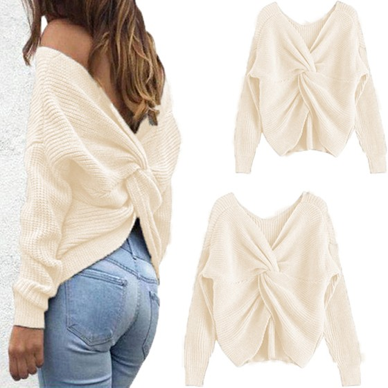 c601e1a3ac White Cross Back Backless Deep V-neck Fashion Knitwear Jumper Pullover  Sweater