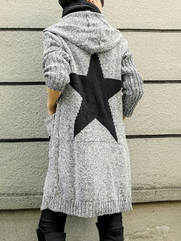 quite nice d1e23 4dbce Light Grey Star Print Pockets Long Sleeve Hooded Fashion Long Cardigan  Sweater