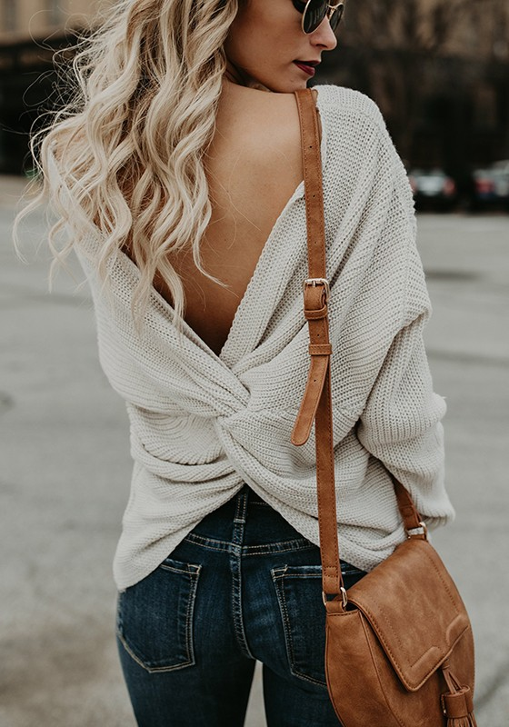 e1c555f0f5 White Cross Back V-neck Long Sleeve Fashion Pullover Sweater - Pullovers -  Sweaters - Tops